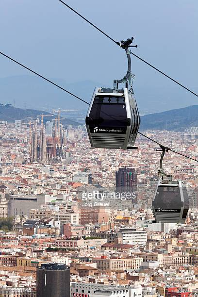 cable car to mount montjuic - montjuic stock pictures, royalty-free photos & images