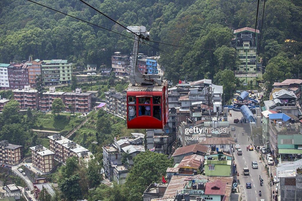A cable car transports commuters along the Gangtok Ropeway  : News Photo