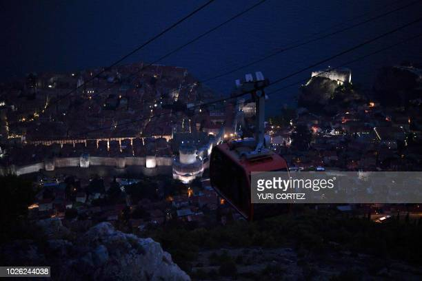 A cable car transports people in the city of Dubrovnik in Croatia on September 1 2018
