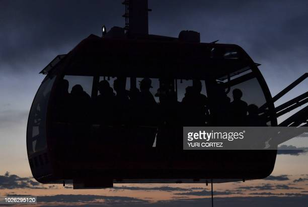 A cable car transports tourists in the city of Dubrovnik in Croatia taken on September 1 2018