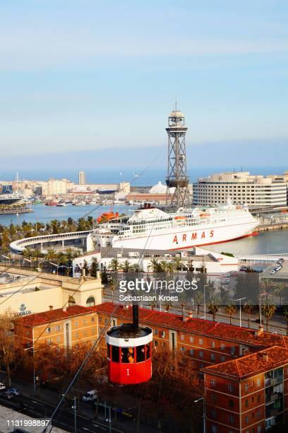 Cable Car Travelling over Port of Barcelona, Dusk, Barcelona, Spain
