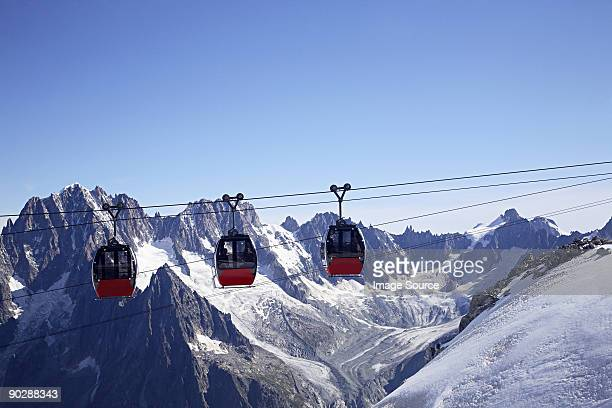 Cable cars in french alps near mont blanc