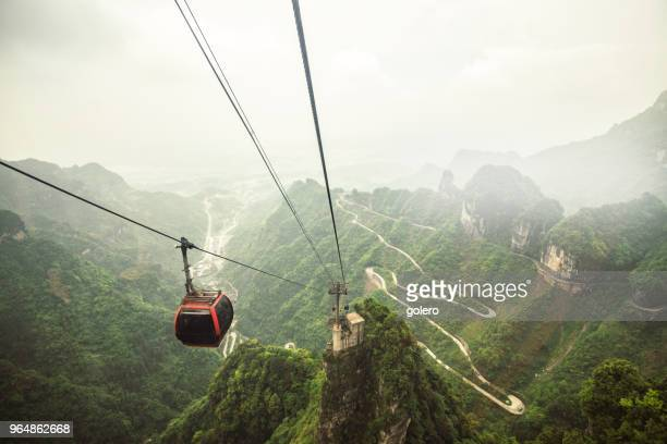 cable cars up to the tianmen mountain
