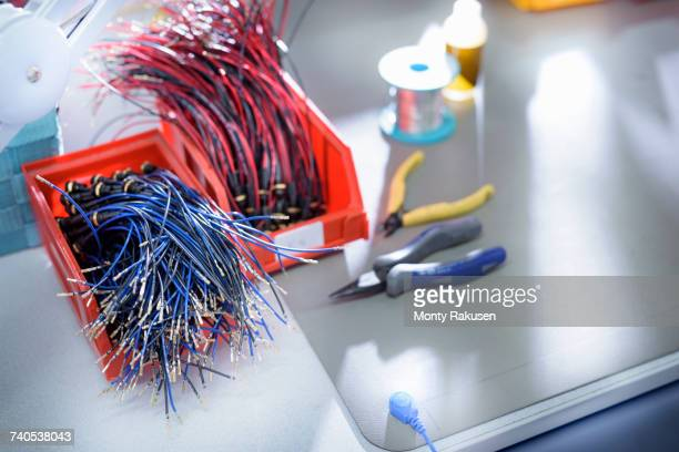 cable component in cable factory - monty rakusen stock pictures, royalty-free photos & images