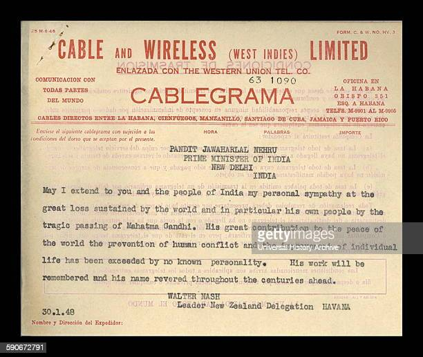 A cable from New Zealand Prime Minister Walter Nash extending his personal sympathy to Prime Minister Nehru of India on the death of Mahatma Gandhi