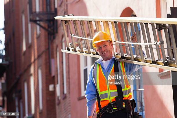 Cable installer carrying ladder