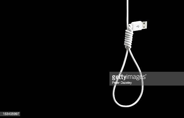 USB cable knotted into a noose