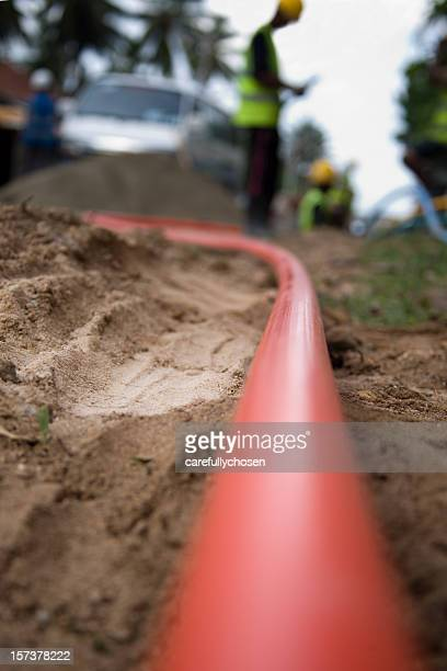 cable pipe being laid