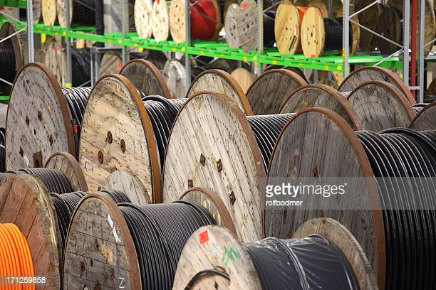 cable reels - cable stock pictures, royalty-free photos & images
