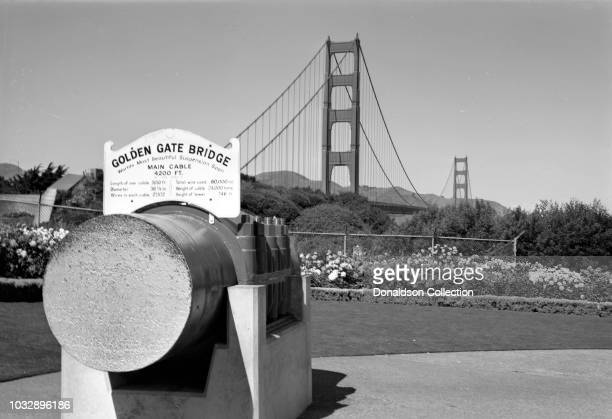 Cable section from bridge cable in front of Golden Gate Bridge on September 25 1970 in San Francisco California