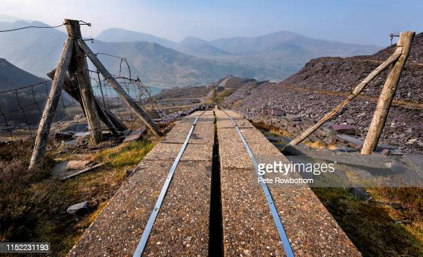 cable troughing, dinorwic abandoned slate quarry - wales stock pictures, royalty-free photos & images