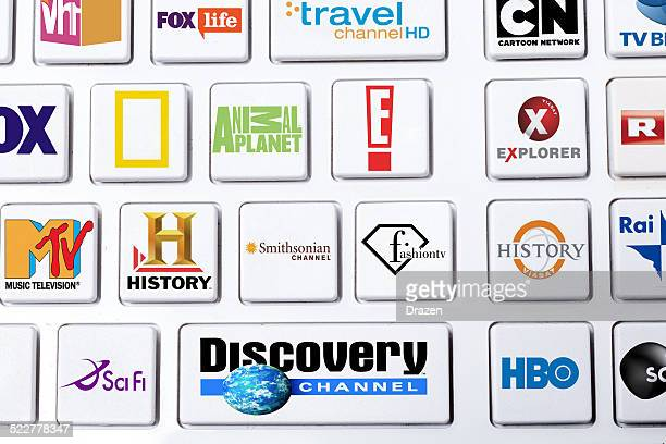 Cable TV selection of globally famous channels on keyboard