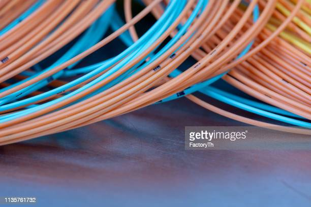 colorful cable used telecommunication computer installation