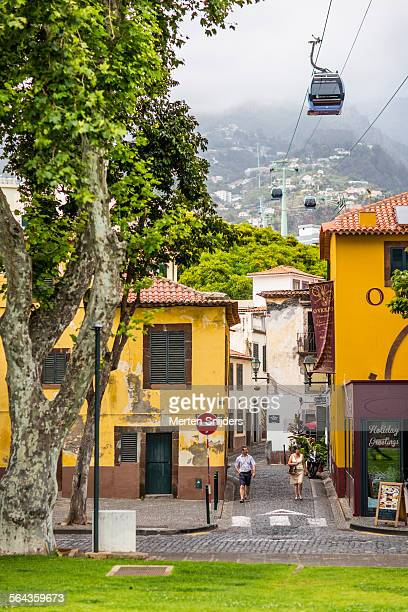 cablecar to monte above rua dom carlos i - funchal stock pictures, royalty-free photos & images