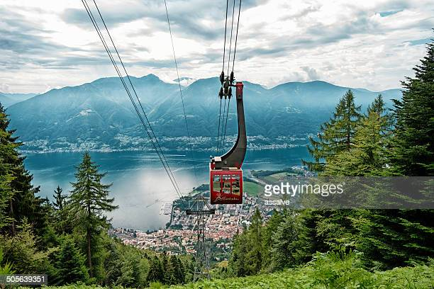 cablecar to mountain cardada in switzerland - locarno stock photos and pictures