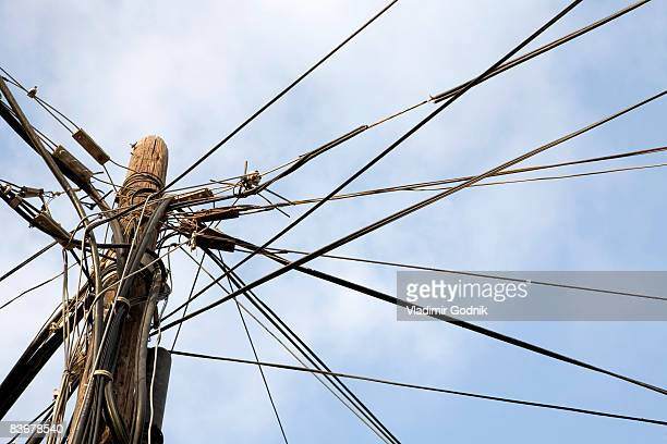 Cables attached to a pole