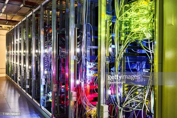Cables connect servers in the 5G lab at the Vodafone Kabel Deutschland GmbH campus in Duesseldorf, Germany, on Tuesday, Jan. 21, 2020. The European...