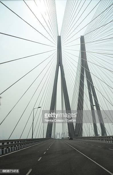 Cable-Stayed Bridge Against Overcast Sky