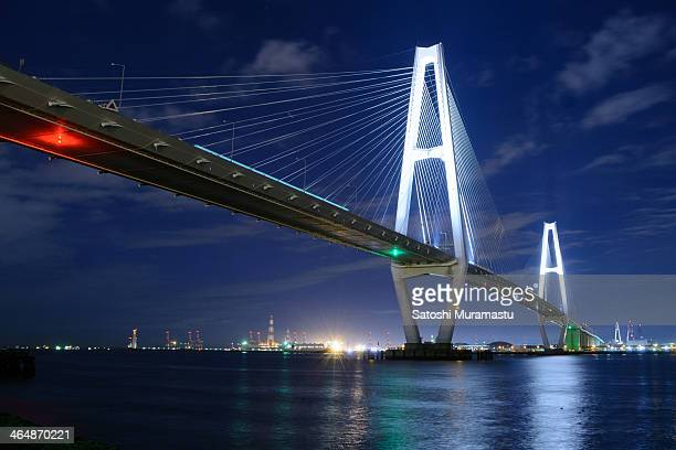 cable-stayed bridge / meiko triton - nagoya stock pictures, royalty-free photos & images