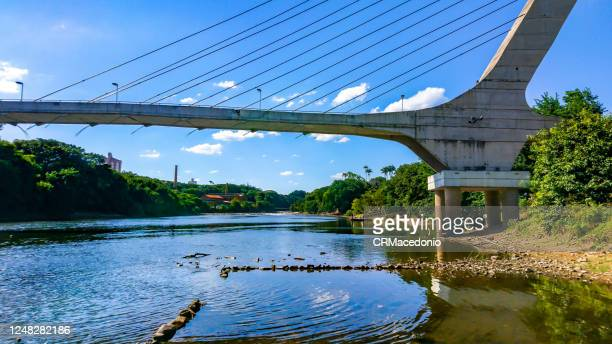 cable-stayed bridge over the piracicaba river in a dry season, under blue sky between clouds. - crmacedonio stock pictures, royalty-free photos & images