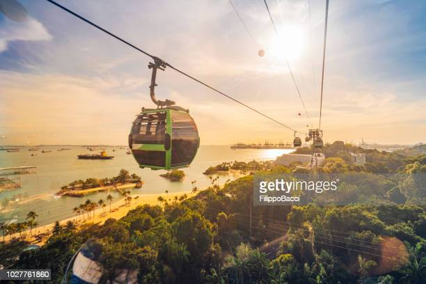 cableway trip in sentosa island, singapore - singapore stock photos and pictures