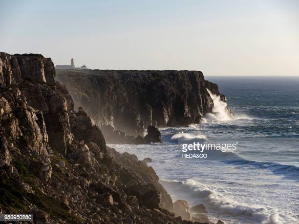 Cabo de Sao Vincente with its lighthouse at the rocky coast of the Algarve in Portugal Europe Southern Europe Portugal March