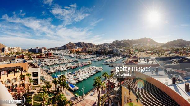 cabo san lucas aerial view - pacific ocean stock photos and pictures