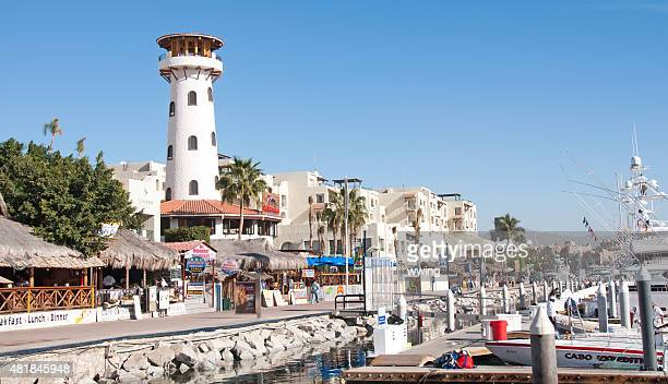 Cabo San Lucas Marina and boardwalk with tourist establishments