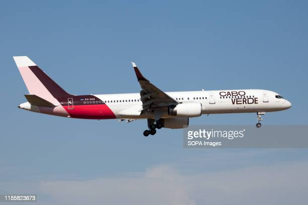 Cabo Verde Airlines Boeing 757-200 landing at Rome Fiumicino airport.