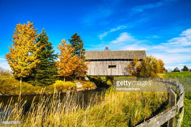 cabot covered bridge - covered bridge stock photos and pictures