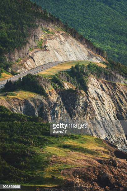 cabot trail highway cliff - cape breton island stock pictures, royalty-free photos & images
