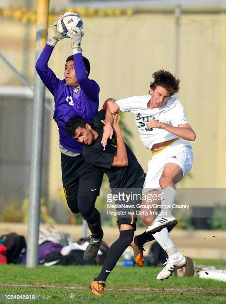 Cabrillo goalie Alejandro Mendoza grabs the ball from teammate Edgar Gonzalez and Poly's Avery Byrne right in Long Beach CA on Wednesday...
