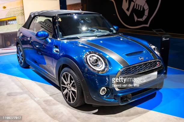 Cabrio or MINI CONVERTIBLE retro design convertible car on display at Brussels Expo on January 9, 2020 in Brussels, Belgium.