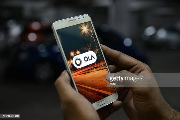 OLA cabs booking using mobile app on October 1 2015 in Bengaluru India