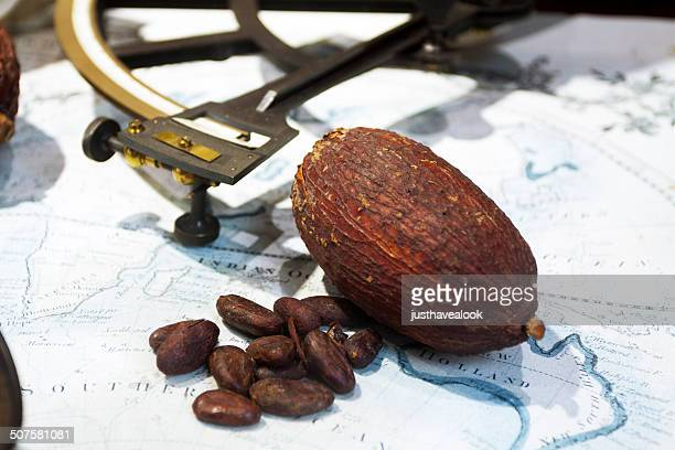 Cacao beans on world map
