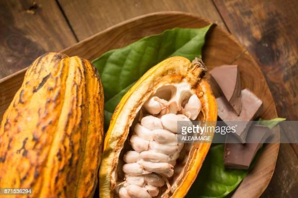 Composición de frutas y chocolate de cacao