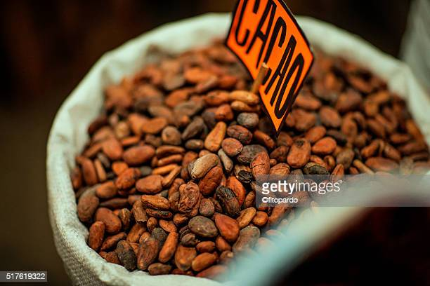 cacao seed (chocolate seed) - sac stock pictures, royalty-free photos & images