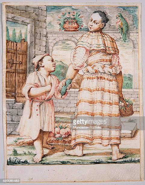 Cacasenno con la madre Meneghina by Giuseppe Maria Crespi known as lo Spagnuolo 18th Century watercolor on vellum 193 x 151 cm