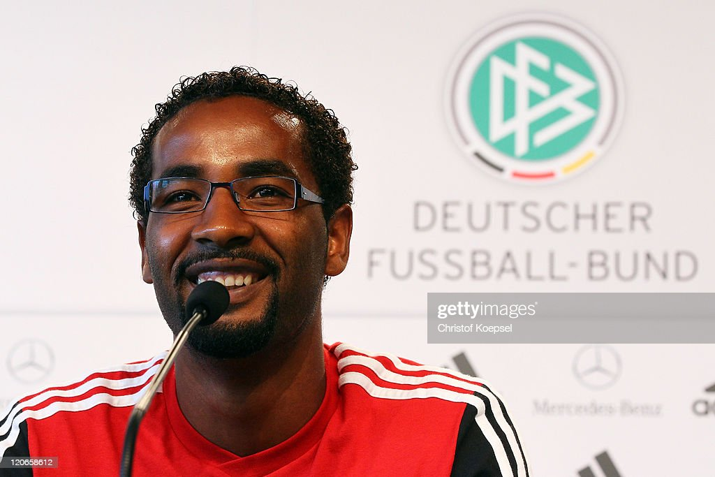 Cacau attends a press conference of the German National football team at Mercedes Benz Museum on August 8, 2011 in Stuttgart, Germany. Germany will play a friendly match against Brazil at Mercedes-Benz Arena on August 10, 2011 in Stuttgart, Germany.