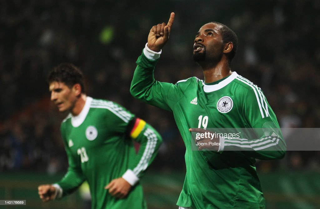 Cacau of Germany celebrates after scoring his team's first goal during the International friendly match between Germany and France at Weser Stadium on February 29, 2012 in Bremen, Germany.