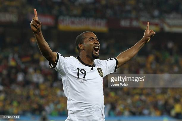 Cacau of Germany celebrates scoring his side's fourth goal during the 2010 FIFA World Cup South Africa Group D match between Germany and Australia at...
