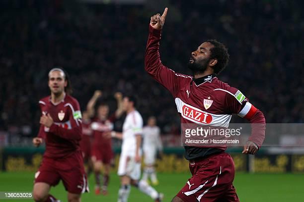 Cacau of Stuttgart cecebrates scoring the opening goal during the DFB Cup round of sixteen match between VfB Stuttgart and Hamburger SV at...