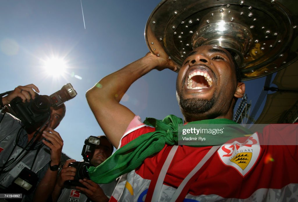 Cacau of Stuttgart celebrates with the trophy for the German champion after the Bundesliga match between VfB Stuttgart and Energie Cottbus at the Gottlieb Daimler stadium on May 19, 2007 in Stuttgart, Germany.