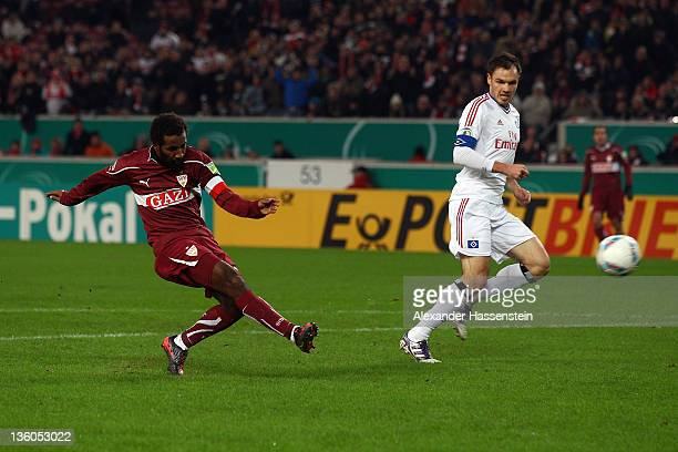 Cacau of Stuttgart scores the opening goal during the DFB Cup round of sixteen match between VfB Stuttgart and Hamburger SV at Mercedes-Benz Arena on...