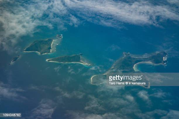 Cacayatan Island, Nanga Island and Malubutglubut Island in Province of Palawan in Philippines daytime aerial view from airplane daytime aerial view from airplane