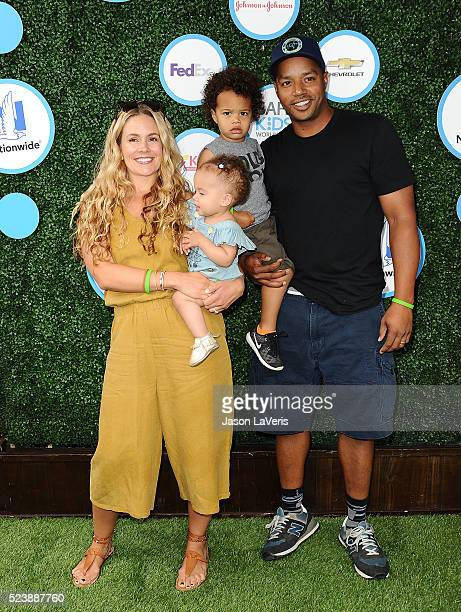 CaCee Cobb Donald Faison Wilder Frances Faison and Rocco Faison attend Safe Kids Day at Smashbox Studios on April 24 2016 in Culver City California
