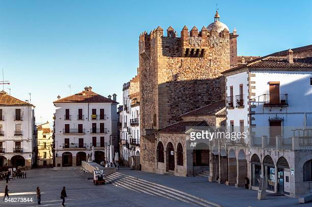 caceres main square - caceres stock pictures, royalty-free photos & images