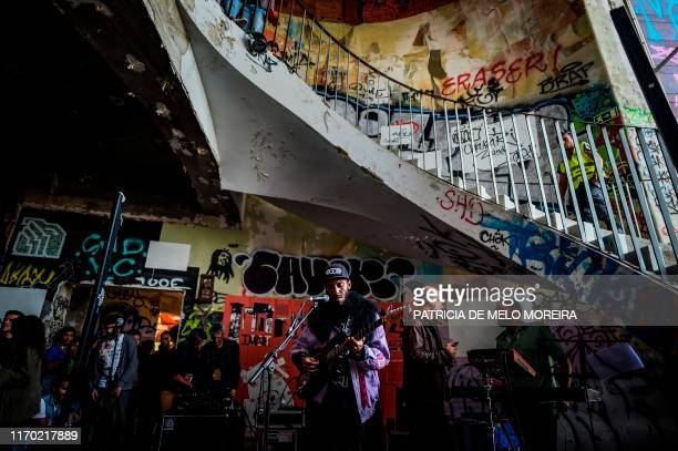 Cachupa Psicadelica musical group performs in the Iminente Festival at the Monsanto panoramic viewpoint in Lisbon on September 22, 2019. - Iminente...
