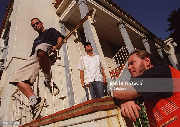 CACirrusstairs0919AS––LONG BEACH––Cirrus members from left Aaron Carter Rene Padilla Stephen James Barry are photographed outside a Long Beach...