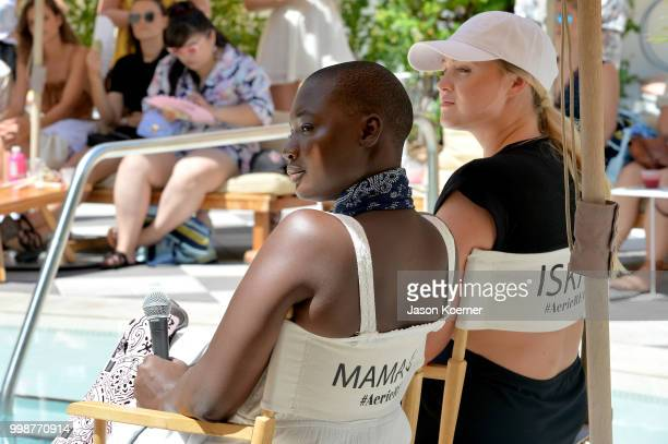 Cacsmy 'Mama Cax' Brutus and Iskra Lawrence speak during the Aerie Swim 2018 panel during the Paraiso Fashion Fair at the Plymouth Hotel Miami on...